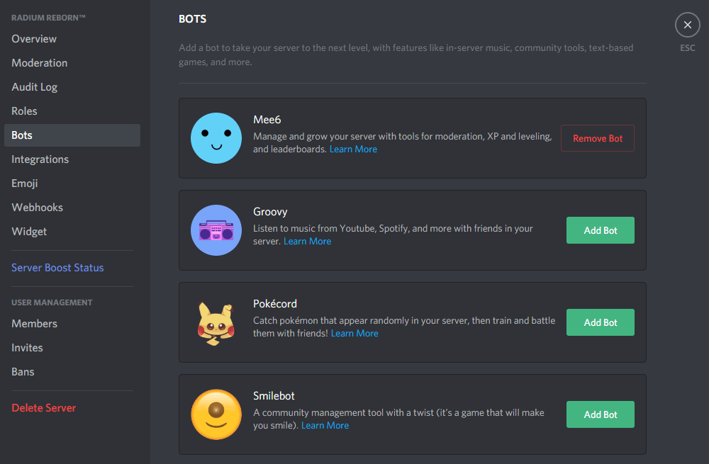 how to add bots on discord