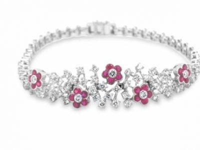 Coloured diamond bracelet